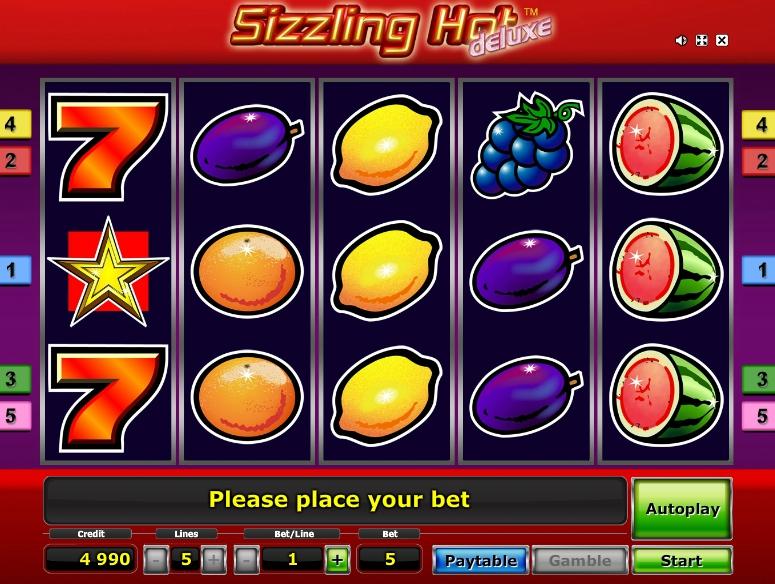 Игровой автомат Sizzling Hot оформление